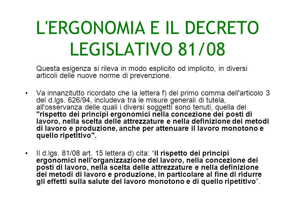 L ERGONOMIA E IL DECRETO LEGISLATIVO 81/08 Questa esigenza si rileva in modo esplicito od implicito, in diversi articoli delle nuove norme di prevenzione.