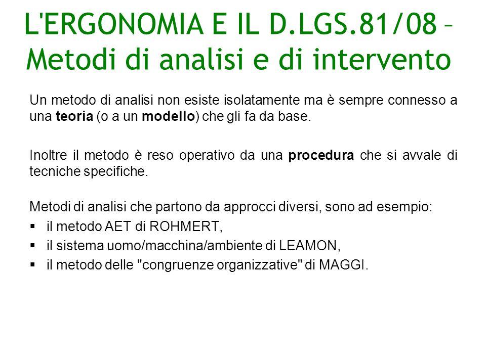 L ERGONOMIA E IL D.LGS.81/08 – Metodi di analisi e di intervento Un metodo di analisi non esiste isolatamente ma è sempre connesso a una teoria (o a un modello) che gli fa da base.