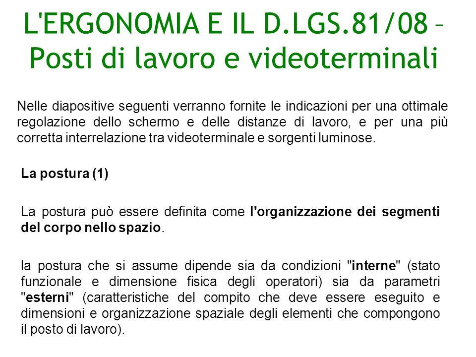 L ERGONOMIA E IL D.LGS.81/08 – Posti di lavoro e videoterminali La postura (1) La postura può essere definita come l organizzazione dei segmenti del corpo nello spazio.