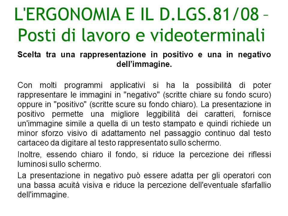 L ERGONOMIA E IL D.LGS.81/08 – Posti di lavoro e videoterminali Scelta tra una rappresentazione in positivo e una in negativo dellimmagine.