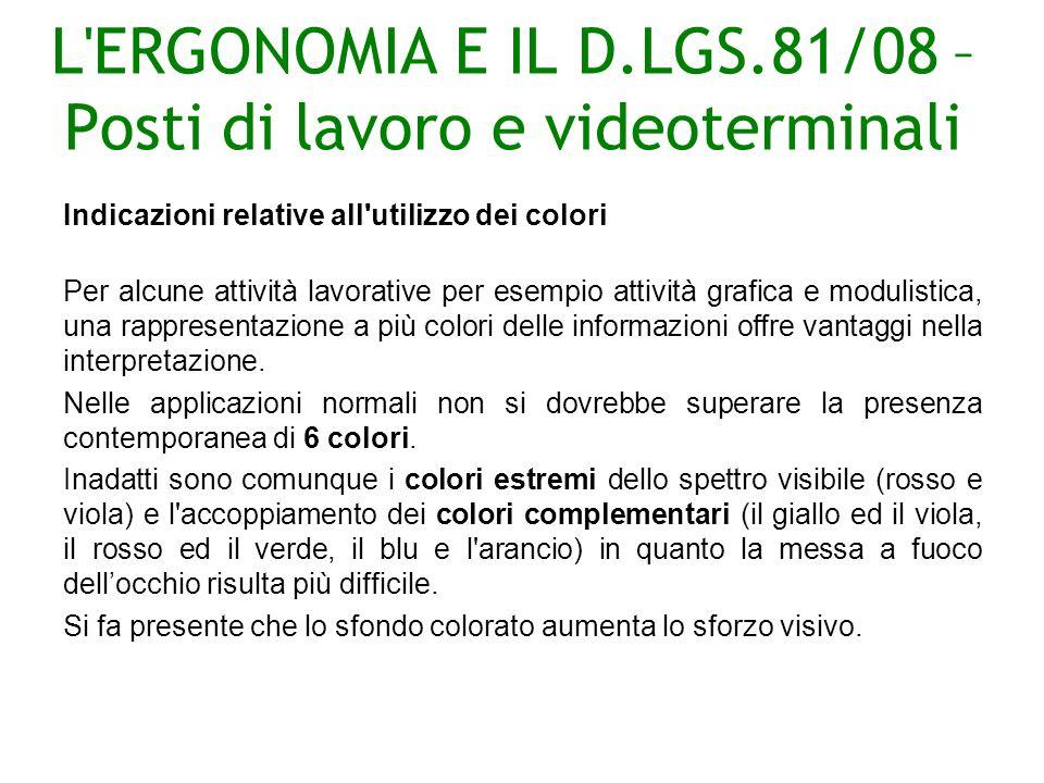 L ERGONOMIA E IL D.LGS.81/08 – Posti di lavoro e videoterminali Indicazioni relative all utilizzo dei colori Per alcune attività lavorative per esempio attività grafica e modulistica, una rappresentazione a più colori delle informazioni offre vantaggi nella interpretazione.