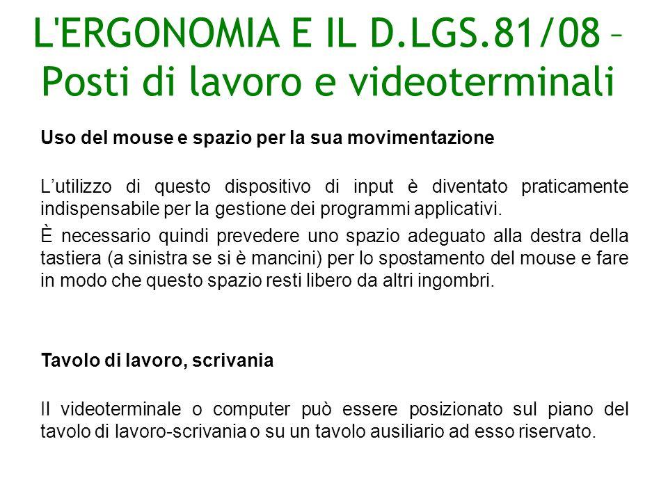 L ERGONOMIA E IL D.LGS.81/08 – Posti di lavoro e videoterminali Uso del mouse e spazio per la sua movimentazione Lutilizzo di questo dispositivo di input è diventato praticamente indispensabile per la gestione dei programmi applicativi.