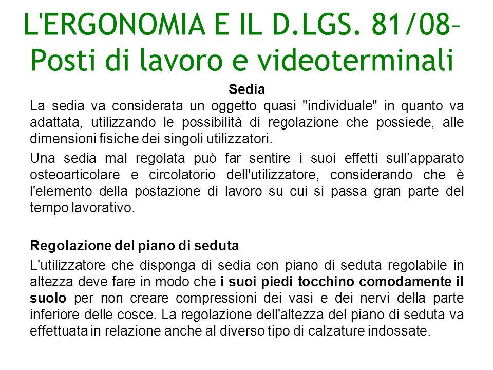 L ERGONOMIA E IL D.LGS.