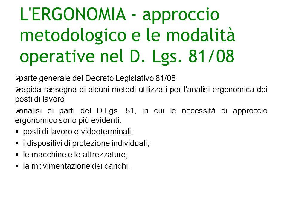 L ERGONOMIA - approccio metodologico e le modalità operative nel D.