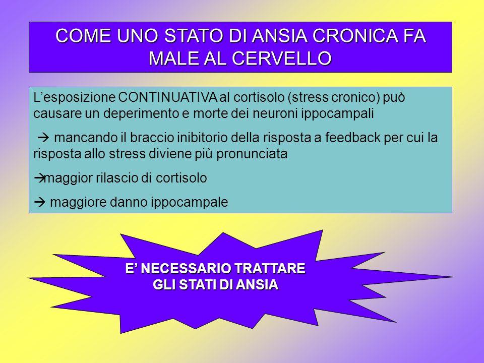 COME UNO STATO DI ANSIA CRONICA FA MALE AL CERVELLO Lesposizione CONTINUATIVA al cortisolo (stress cronico) può causare un deperimento e morte dei neu