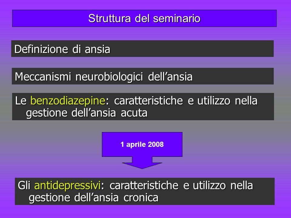 Struttura del seminario Meccanismi neurobiologici dellansia Le benzodiazepine: caratteristiche e utilizzo nella gestione dellansia acuta Definizione d