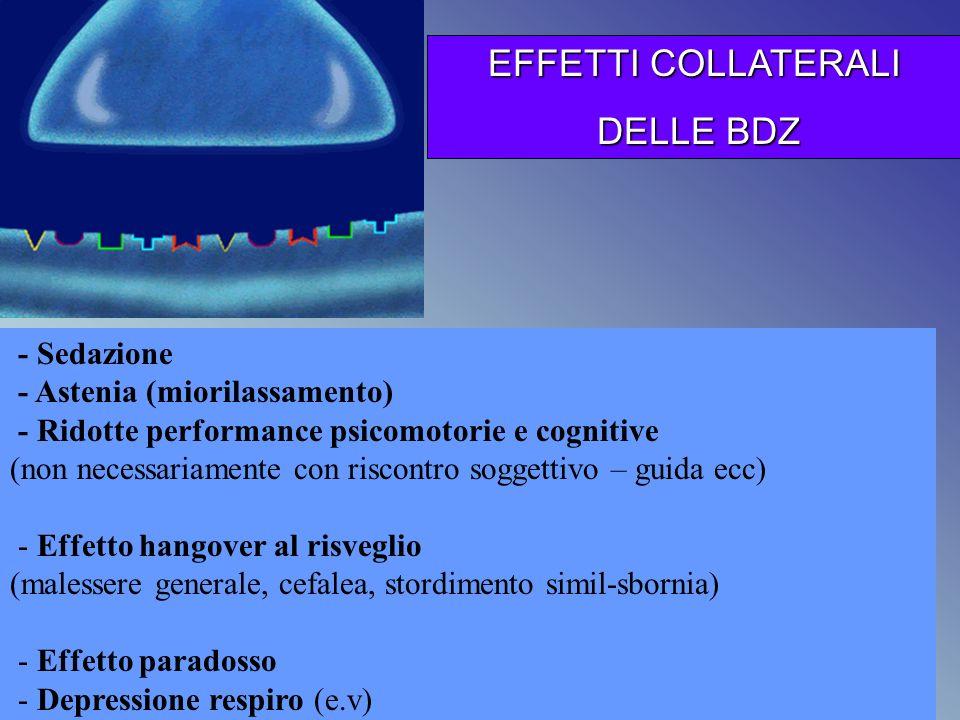 - Sedazione - Astenia (miorilassamento) - Ridotte performance psicomotorie e cognitive (non necessariamente con riscontro soggettivo – guida ecc) - Ef