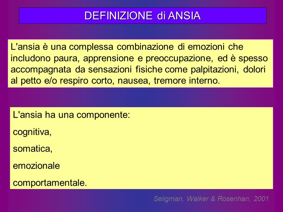 DEFINIZIONE di ANSIA L'ansia è una complessa combinazione di emozioni che includono paura, apprensione e preoccupazione, ed è spesso accompagnata da s