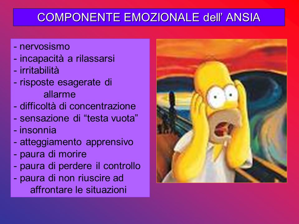 COMPONENTE EMOZIONALE dell ANSIA - nervosismo - incapacità a rilassarsi - irritabilità - risposte esagerate di allarme - difficoltà di concentrazione