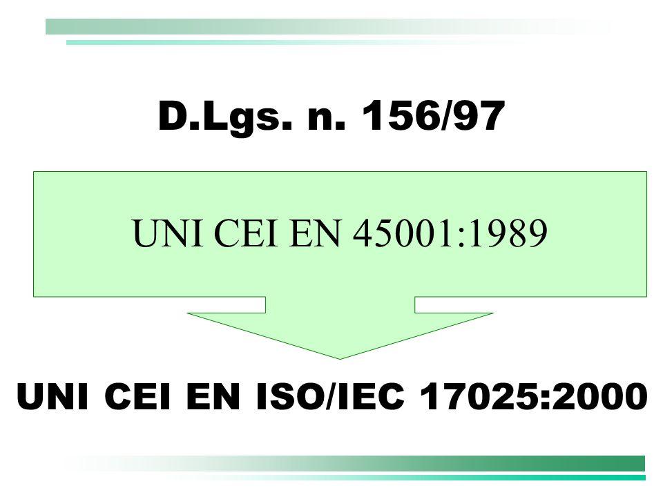 UNI CEI EN ISO/IEC 17025:2000 D.Lgs. n. 156/97 UNI CEI EN 45001:1989