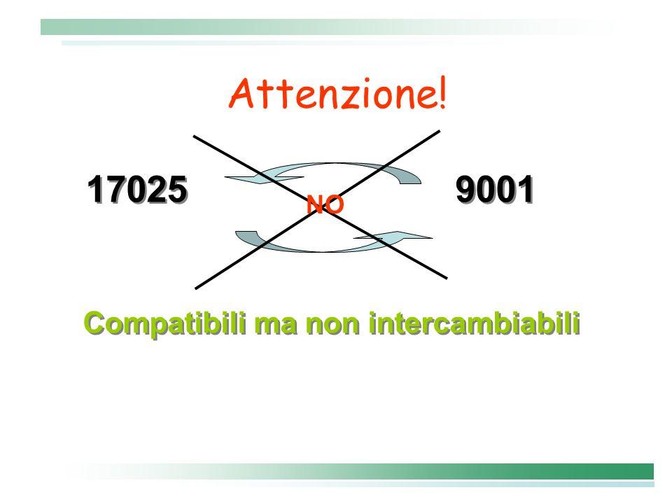 Attenzione! 17025 9001 Compatibili ma non intercambiabili 17025 9001 Compatibili ma non intercambiabili NO