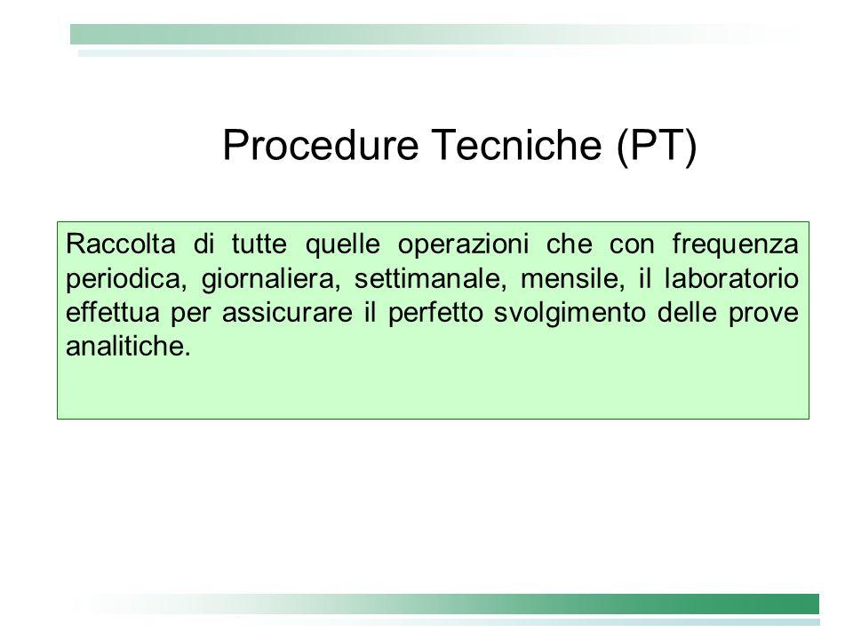 Procedure Tecniche (PT) Raccolta di tutte quelle operazioni che con frequenza periodica, giornaliera, settimanale, mensile, il laboratorio effettua pe