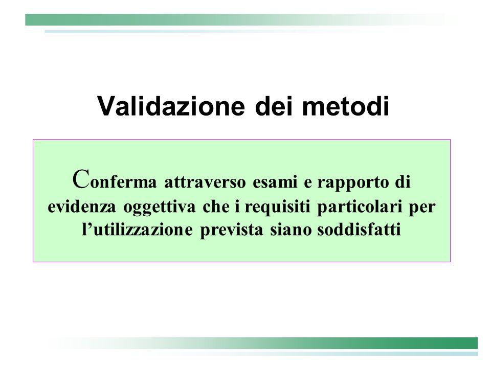 Validazione dei metodi C onferma attraverso esami e rapporto di evidenza oggettiva che i requisiti particolari per lutilizzazione prevista siano soddi