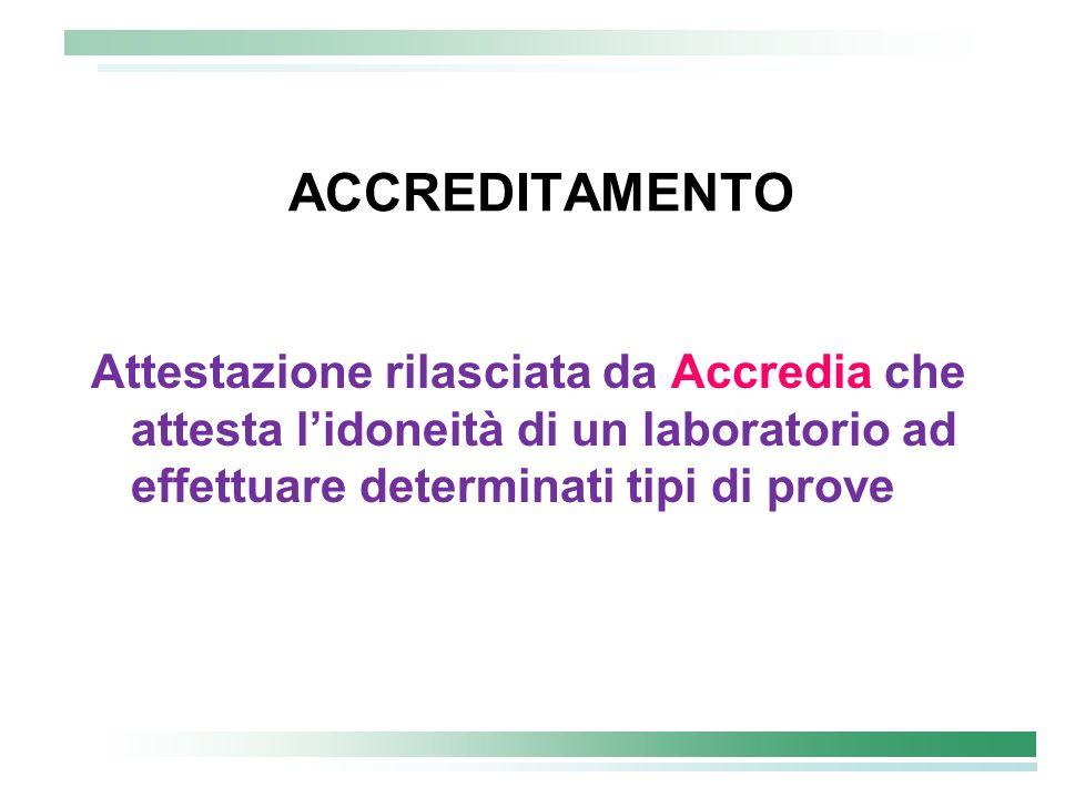 ACCREDITAMENTO Attestazione rilasciata da Accredia che attesta lidoneità di un laboratorio ad effettuare determinati tipi di prove