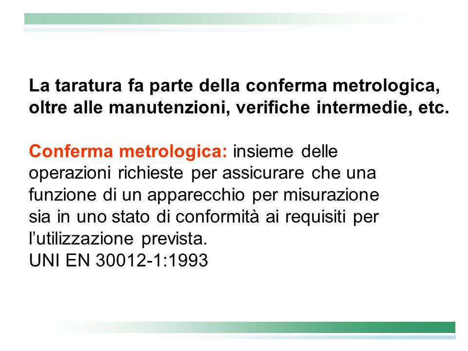 La taratura fa parte della conferma metrologica, oltre alle manutenzioni, verifiche intermedie, etc. Conferma metrologica: insieme delle operazioni ri