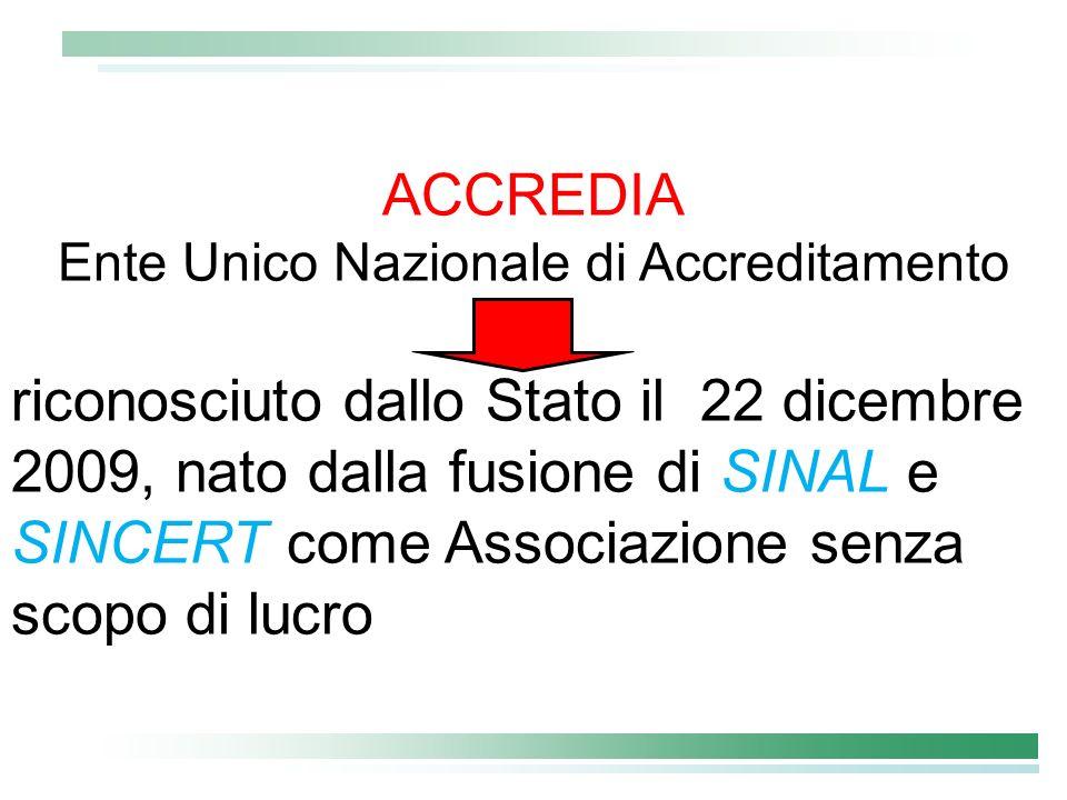 ACCREDIA Ente Unico Nazionale di Accreditamento riconosciuto dallo Stato il 22 dicembre 2009, nato dalla fusione di SINAL e SINCERT come Associazione