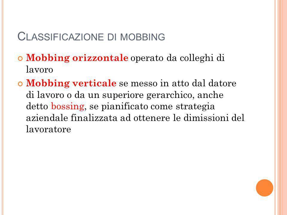 C LASSIFICAZIONE DI MOBBING Mobbing orizzontale operato da colleghi di lavoro Mobbing verticale se messo in atto dal datore di lavoro o da un superiore gerarchico, anche detto bossing, se pianificato come strategia aziendale finalizzata ad ottenere le dimissioni del lavoratore