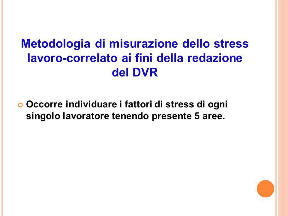 Metodologia di misurazione dello stress lavoro-correlato ai fini della redazione del DVR Occorre individuare i fattori di stress di ogni singolo lavoratore tenendo presente 5 aree.