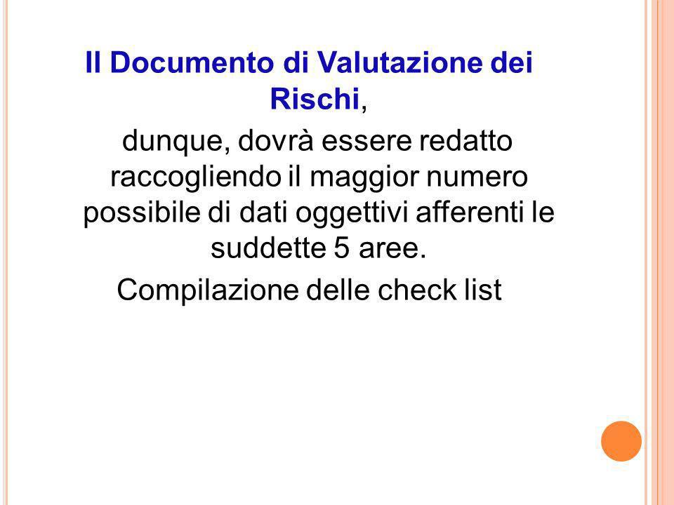 Il Documento di Valutazione dei Rischi, dunque, dovrà essere redatto raccogliendo il maggior numero possibile di dati oggettivi afferenti le suddette 5 aree.