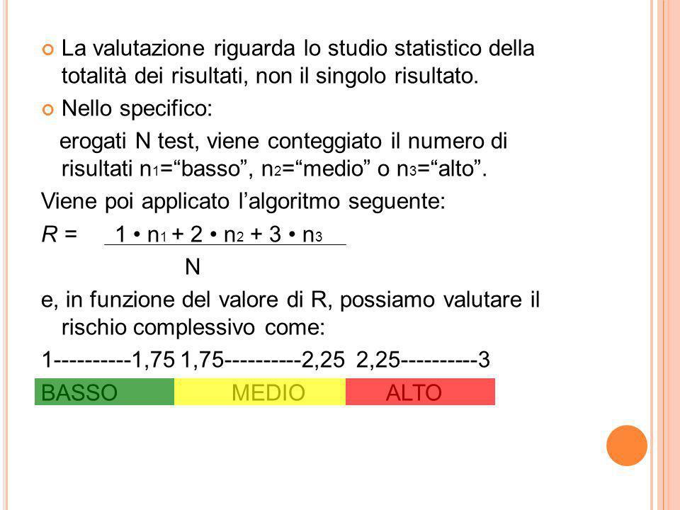 La valutazione riguarda lo studio statistico della totalità dei risultati, non il singolo risultato.