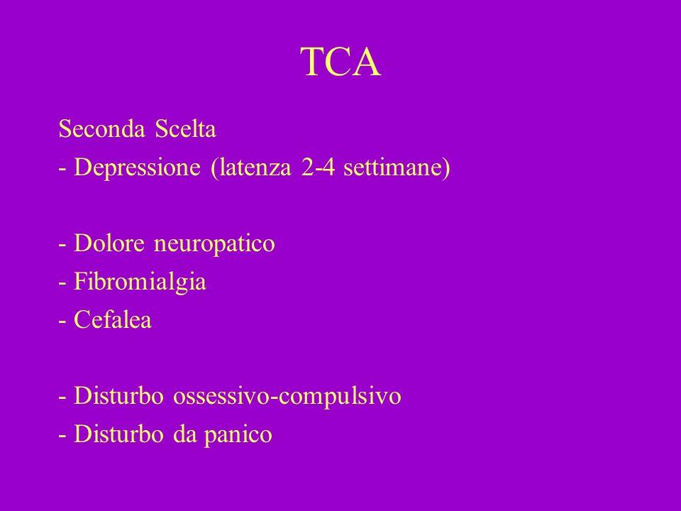 TCA Seconda Scelta - Depressione (latenza 2-4 settimane) - Dolore neuropatico - Fibromialgia - Cefalea - Disturbo ossessivo-compulsivo - Disturbo da p