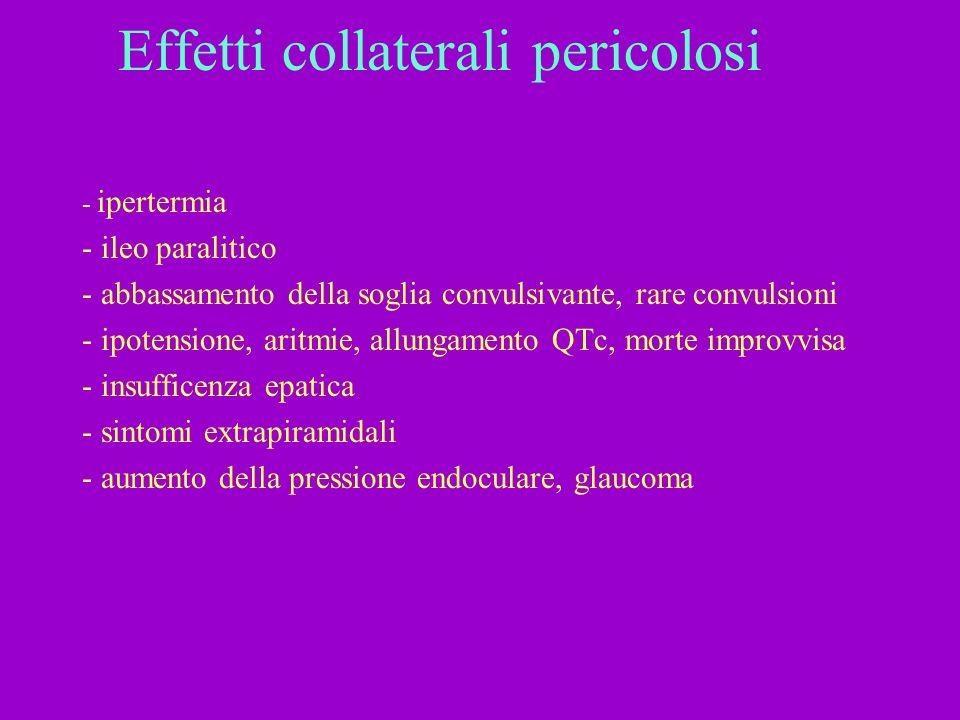 Effetti collaterali pericolosi - ipertermia - ileo paralitico - abbassamento della soglia convulsivante, rare convulsioni - ipotensione, aritmie, allu