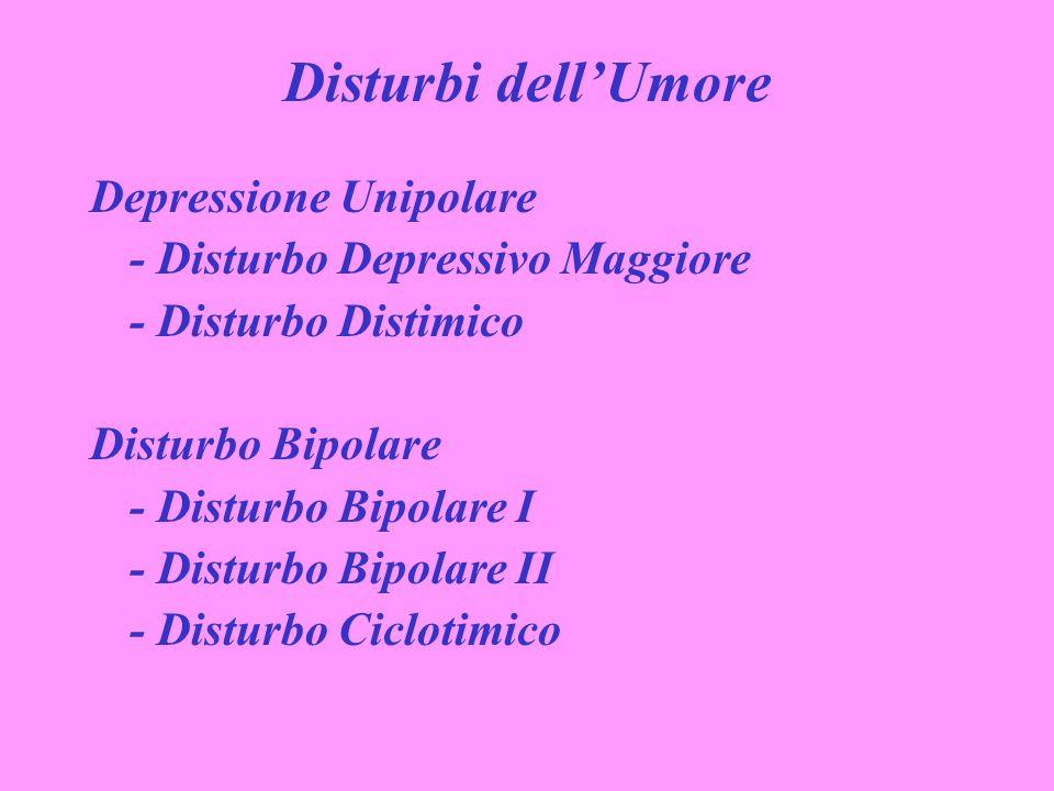 Disturbi dellUmore Depressione Unipolare - Disturbo Depressivo Maggiore - Disturbo Distimico Disturbo Bipolare - Disturbo Bipolare I - Disturbo Bipola