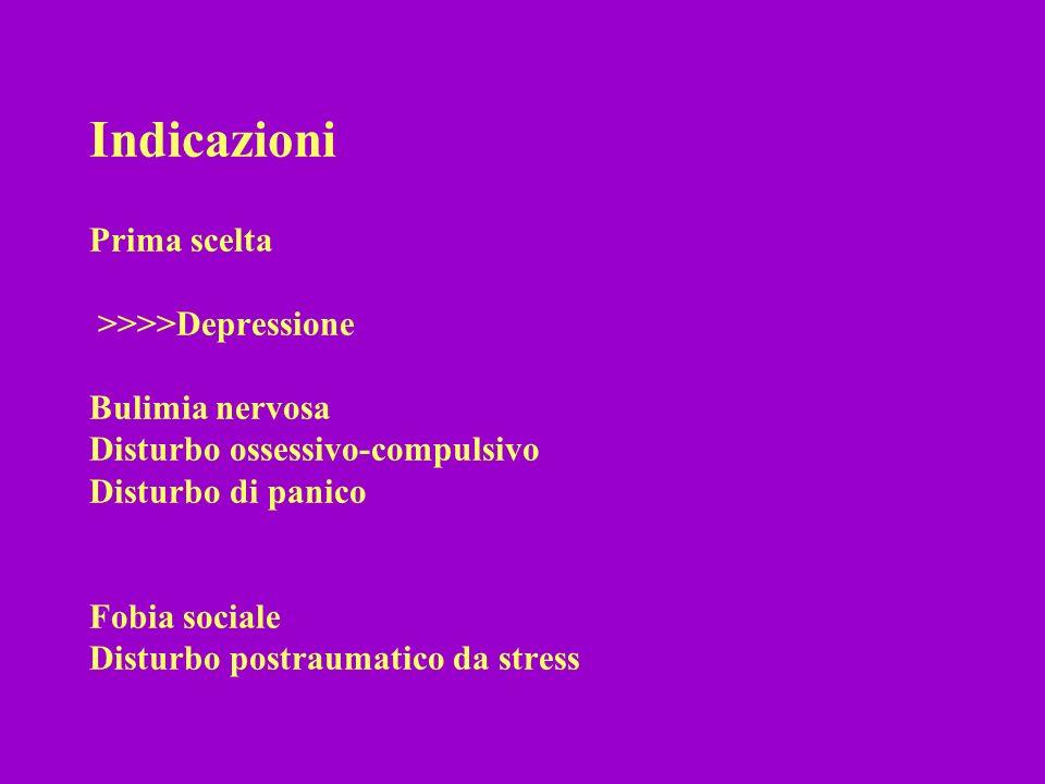 Indicazioni Prima scelta >>>>Depressione Bulimia nervosa Disturbo ossessivo-compulsivo Disturbo di panico Fobia sociale Disturbo postraumatico da stre