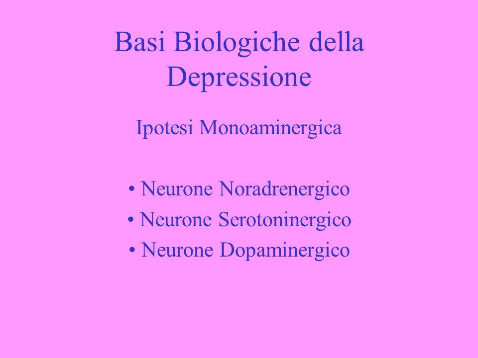 Basi Biologiche della Depressione Ipotesi Monoaminergica Neurone Noradrenergico Neurone Serotoninergico Neurone Dopaminergico