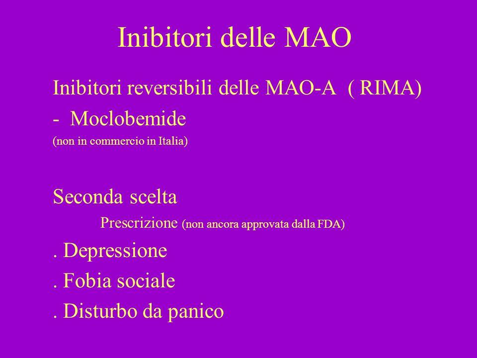 Inibitori delle MAO Inibitori reversibili delle MAO-A ( RIMA) - Moclobemide (non in commercio in Italia) Seconda scelta Prescrizione (non ancora appro