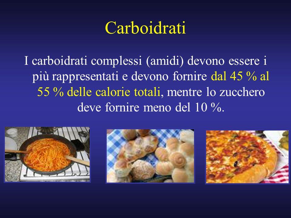 Carboidrati I carboidrati complessi (amidi) devono essere i più rappresentati e devono fornire dal 45 % al 55 % delle calorie totali, mentre lo zucche