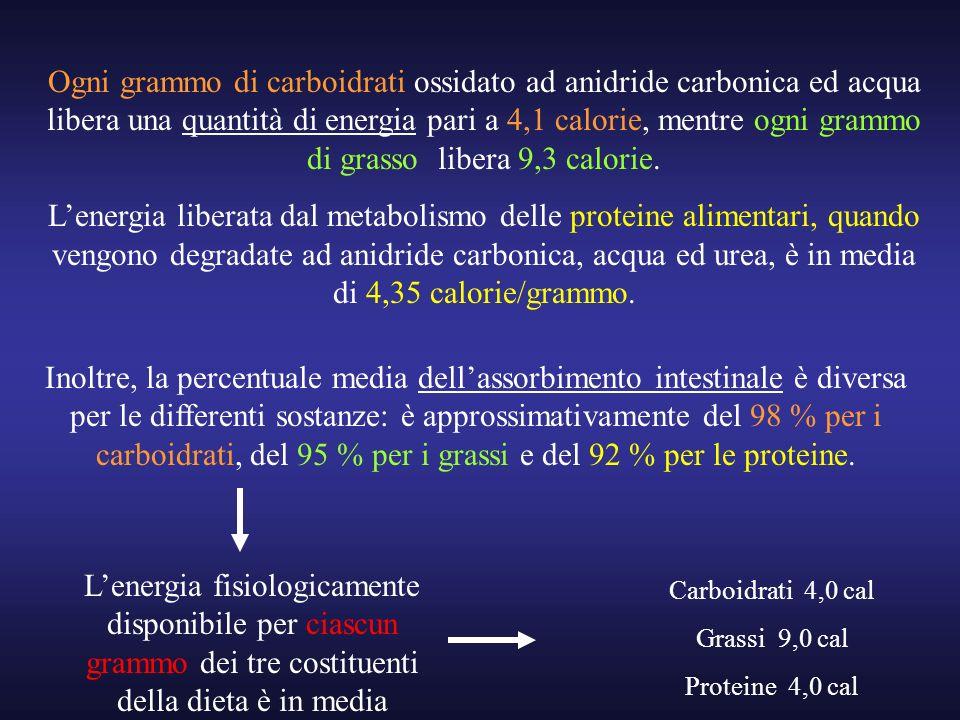 Ogni grammo di carboidrati ossidato ad anidride carbonica ed acqua libera una quantità di energia pari a 4,1 calorie, mentre ogni grammo di grasso lib