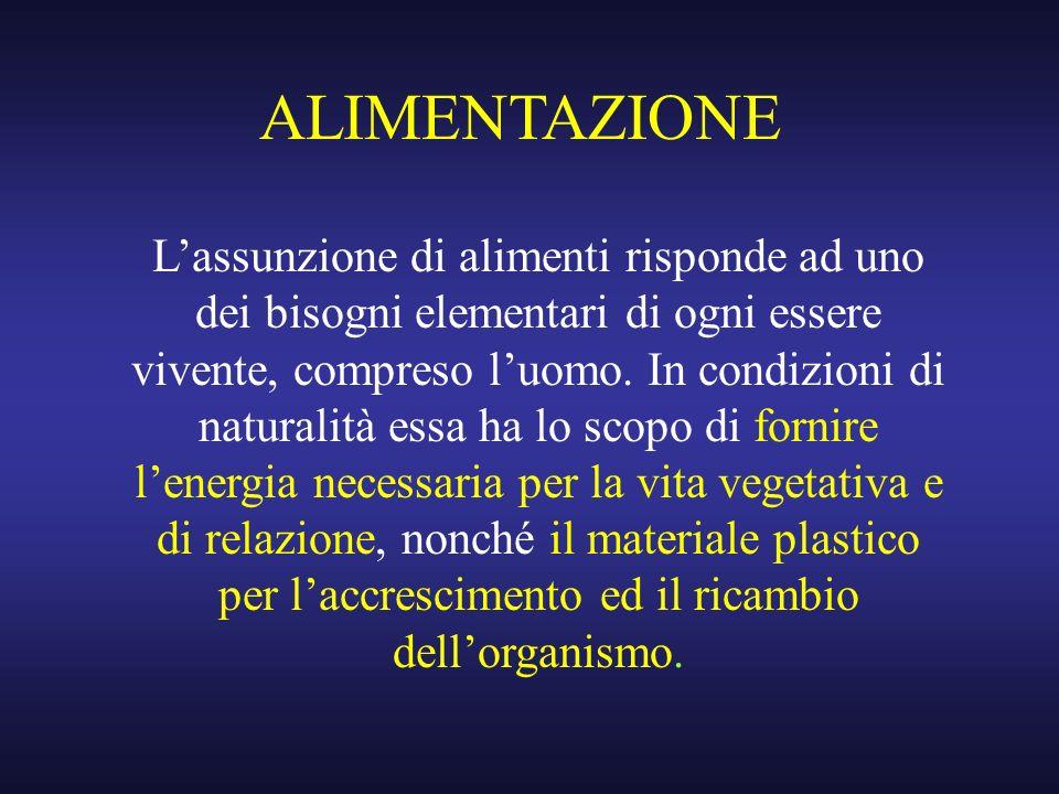 ALIMENTAZIONE Lassunzione di alimenti risponde ad uno dei bisogni elementari di ogni essere vivente, compreso luomo. In condizioni di naturalità essa