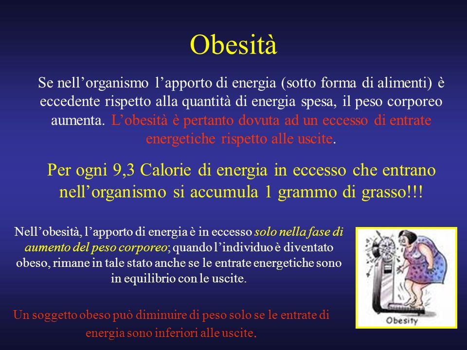 Obesità Se nellorganismo lapporto di energia (sotto forma di alimenti) è eccedente rispetto alla quantità di energia spesa, il peso corporeo aumenta.