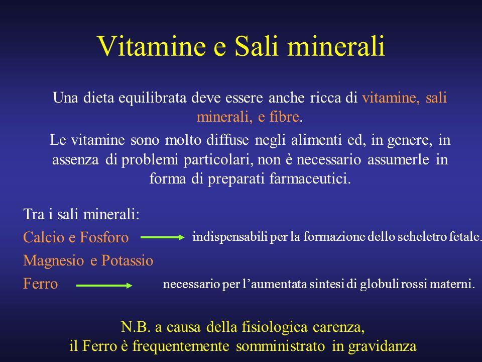 Vitamine e Sali minerali Una dieta equilibrata deve essere anche ricca di vitamine, sali minerali, e fibre. Le vitamine sono molto diffuse negli alime