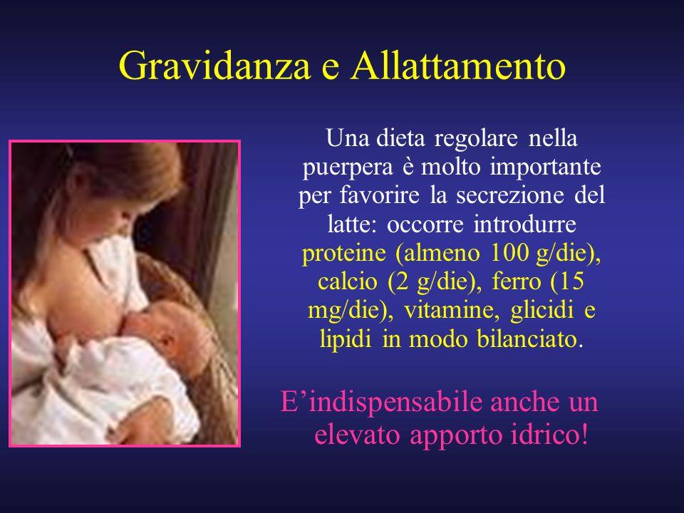 Gravidanza e Allattamento Una dieta regolare nella puerpera è molto importante per favorire la secrezione del latte: occorre introdurre proteine (alme