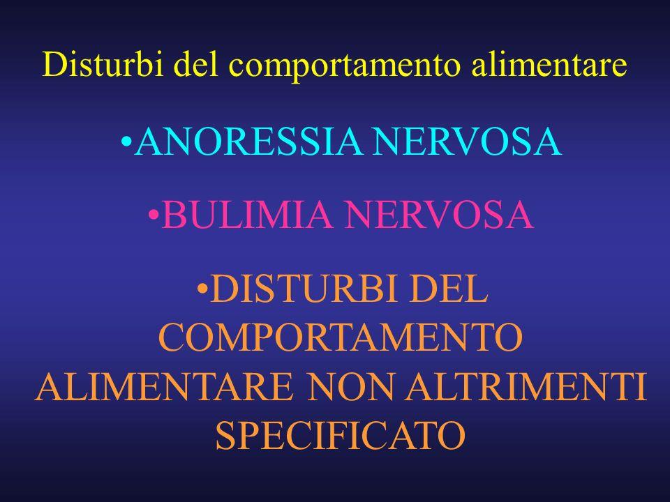 ANORESSIA NERVOSA BULIMIA NERVOSA DISTURBI DEL COMPORTAMENTO ALIMENTARE NON ALTRIMENTI SPECIFICATO