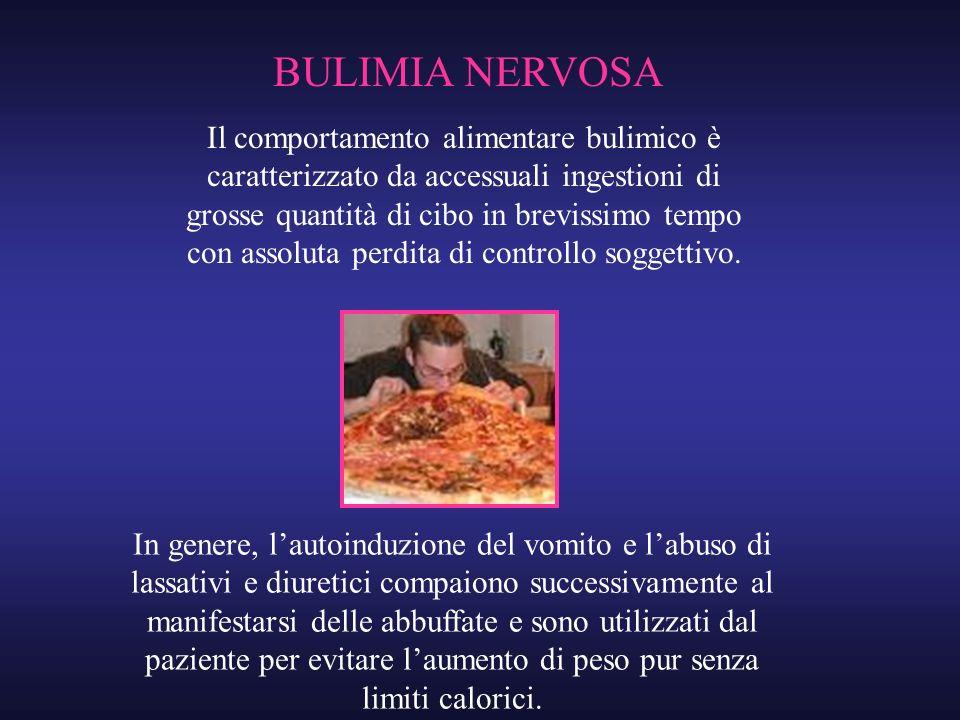 Il comportamento alimentare bulimico è caratterizzato da accessuali ingestioni di grosse quantità di cibo in brevissimo tempo con assoluta perdita di