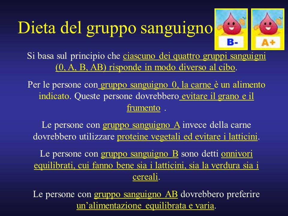 Dieta del gruppo sanguigno Si basa sul principio che ciascuno dei quattro gruppi sanguigni (0, A, B, AB) risponde in modo diverso al cibo. Per le pers