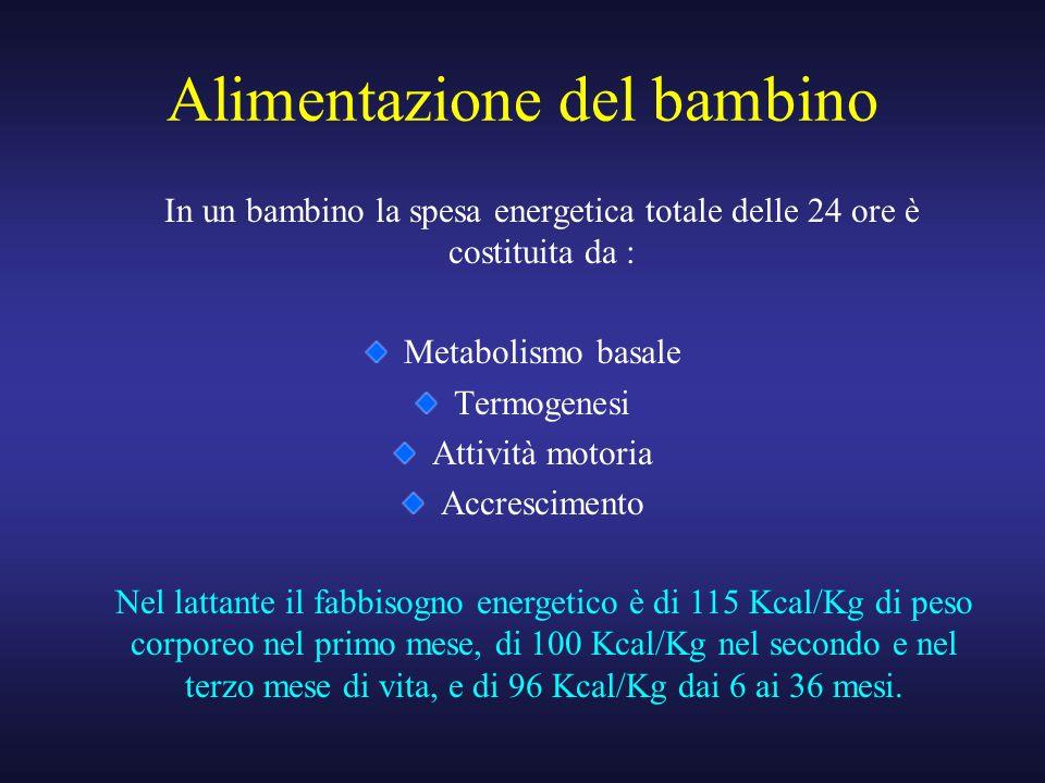 In un bambino la spesa energetica totale delle 24 ore è costituita da : Metabolismo basale Termogenesi Attività motoria Accrescimento Nel lattante il