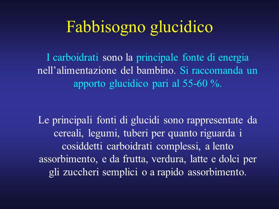 Fabbisogno glucidico I carboidrati sono la principale fonte di energia nellalimentazione del bambino. Si raccomanda un apporto glucidico pari al 55-60