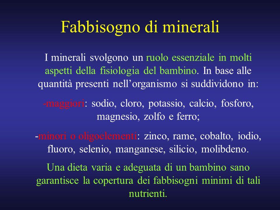 Fabbisogno di minerali Una dieta varia e adeguata di un bambino sano garantisce la copertura dei fabbisogni minimi di tali nutrienti. I minerali svolg