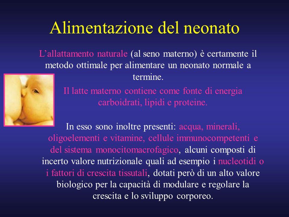 Alimentazione del neonato Lallattamento naturale (al seno materno) è certamente il metodo ottimale per alimentare un neonato normale a termine. Il lat