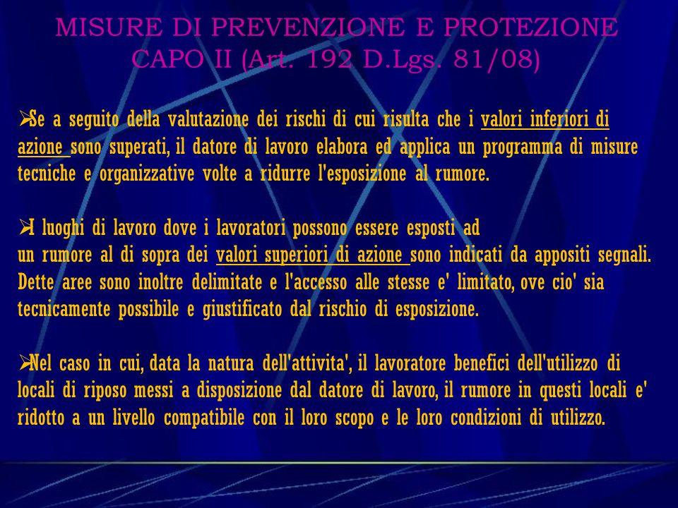 MISURE DI PREVENZIONE E PROTEZIONE CAPO II (Art.192 D.Lgs.
