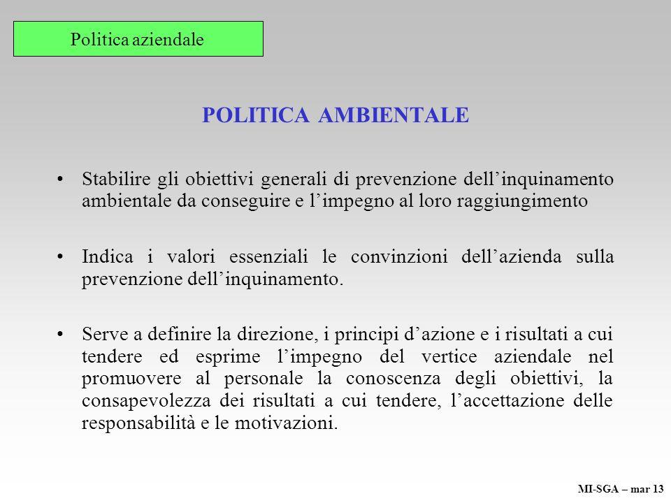 POLITICA AMBIENTALE Stabilire gli obiettivi generali di prevenzione dellinquinamento ambientale da conseguire e limpegno al loro raggiungimento Indica i valori essenziali le convinzioni dellazienda sulla prevenzione dellinquinamento.