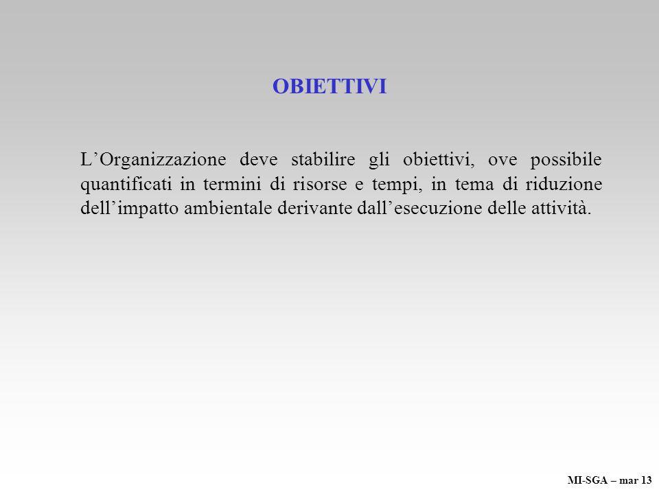OBIETTIVI LOrganizzazione deve stabilire gli obiettivi, ove possibile quantificati in termini di risorse e tempi, in tema di riduzione dellimpatto amb