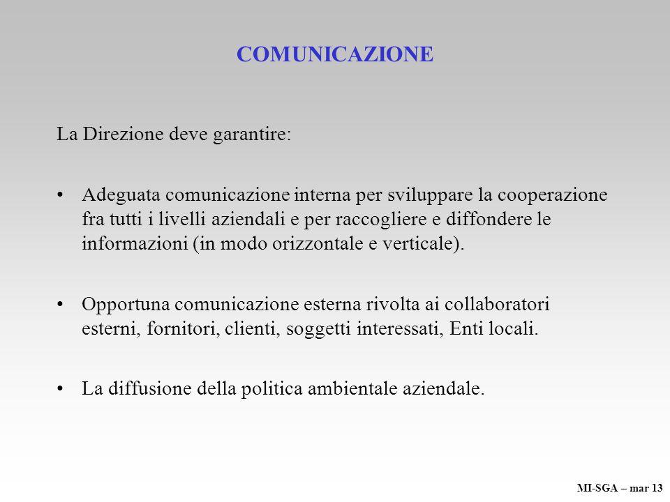 COMUNICAZIONE La Direzione deve garantire: Adeguata comunicazione interna per sviluppare la cooperazione fra tutti i livelli aziendali e per raccogliere e diffondere le informazioni (in modo orizzontale e verticale).