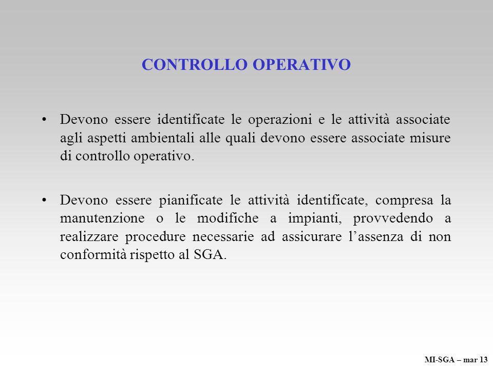 CONTROLLO OPERATIVO Devono essere identificate le operazioni e le attività associate agli aspetti ambientali alle quali devono essere associate misure di controllo operativo.