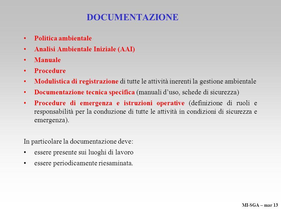 DOCUMENTAZIONE Politica ambientale Analisi Ambientale Iniziale (AAI) Manuale Procedure Modulistica di registrazione di tutte le attività inerenti la g