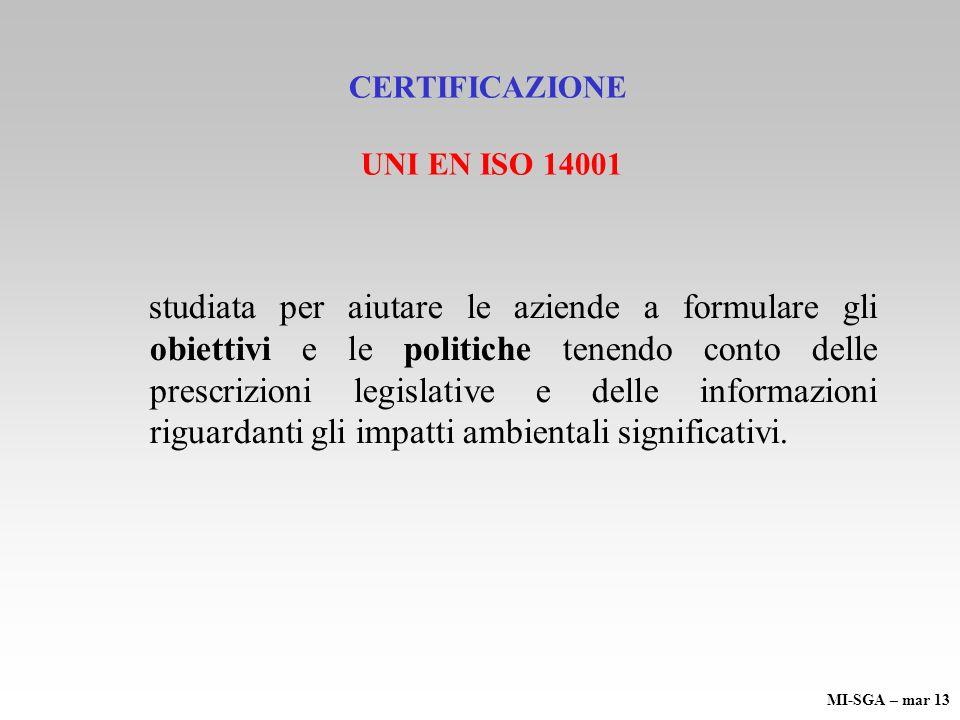 CERTIFICAZIONE UNI EN ISO 14001 studiata per aiutare le aziende a formulare gli obiettivi e le politiche tenendo conto delle prescrizioni legislative
